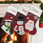 Personalized Plaid Christmas Stocking with Character