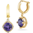 Diamond and Amethyst Dangle Earrings in 14K Yellow Gold