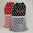 Personalized White Polka Dot Laundry Bag