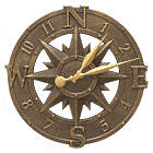 French Bronze Compass Rose Outdoor Wall Clock
