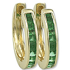 14k Yellow Gold Emerald Huggie Earrings