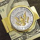 JFK Half Dollar Presidential Seal Goldtone Money Clip