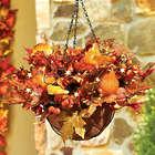 """Autumn Harvest 20"""" Pre-Lit Hanging Basket"""