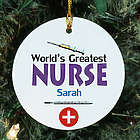 World's Greatest Nurse Personalized Ceramic Ornament