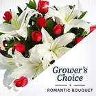 Romantic's Choice Bouquet with Vase & Chocolates