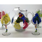 Handpainted Parrot Margaraita Set