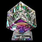 Sparkling Dichroic Optical Crystal Cube Sculpture