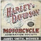 Personalized Harley-Davidson Motorcycle Admiration Society Sign
