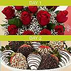 One Dozen Red Roses and 12 Hand-Dipped Strawberries Surprise