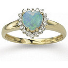 14k Yellow Gold Heart Shaped Opal and Diamond Ring