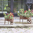 Duo of Decorative Twig Wheelbarrows