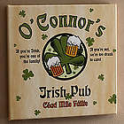 Personalized Irish Pub Sign Canvas Art with Shamrock Design