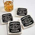Whiskey Label Personalized Tumbled Stone Coaster Set