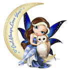 Fairy and Owl Moon Figurine