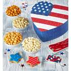Snacks and Sweets in Heart-Shaped US Flag Gift Box