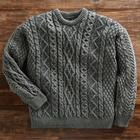 Aran Plaited Wool Crew Sweater