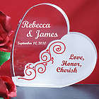 Engraved Love Honor Cherish Wedding Heart Plaque