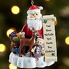 Personalized Santa and Rudolph the Red-Nosed Reindeer Ornament