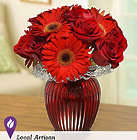 Red Ruby Bouquet in a Red Glass Vase