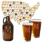 USA Beer Cap Map with Personalized Beer Growler and Glasses