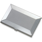 Personalized Silver Beveled Edge Business Card Case