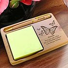 Personalized Butterfly Wooden Notepad & Pen Holder