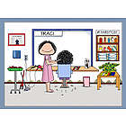 Personalized Hair Stylist or Hairdresser Cartoon Print