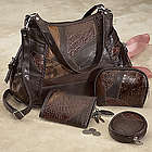 4 Piece Brown Patchwork Leather Handbag Set