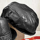 Black Leather Newsboy Cap