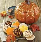 Metallic Swirl Pumpkin Cookie Jar with 12 Autumn Cookies