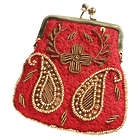 Embroidered Kiss Lock Coin Purse in Red