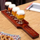 Carefully Crafted Personalized Beer Flight Glasses and Paddle