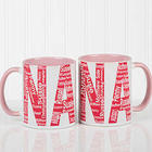 Personalized Mom or Nana Repeating Names Coffee Mug