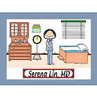 Personalized Doctor in Scrubs Cartoon Print