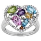 Multi Gemstone Heart-Shaped Ring in Sterling Silver