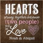 "Personalized Hearts Strung Together 11"" Canvas Print"