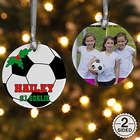 2 Sided Soccer Personalized Photo Ornament