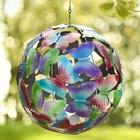 Hanging Butterfly Globe in Painted Metal