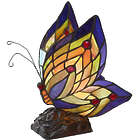 Stained Glass Butterfly with Red Dot Wings Accent Lamp
