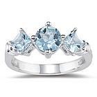 1.23 cts Aquamarine Three-Stone Ring in 14K White Gold