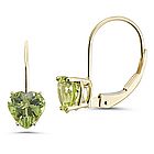 Peridot Solitaire Earrings in 14K Yellow Gold