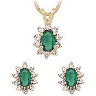 Oval Flower Emerald and Diamond Set