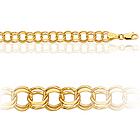 Womens Double Link Charm Bracelet in 10K Yellow Gold