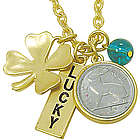 Goldtone Rabbit Coin and Lucky Tag Charms Pendant