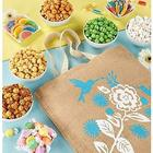 Spring Popcorn and Sweets Burlap Tote Bag