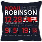 Personalized Birth Announcement Firetruck Pillow