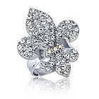Fleur De Lis Silver Tone Adjustable Fashion Ring