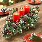 Triple Candle Christmas Lights Faux Evergreen Centerpiece