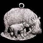 Hippo Family Pewter Ornament