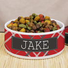 Personalized Plaid Pet Food Bowl